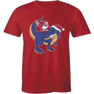 Cartoon Santa Claus Riding T-Rex Dinosaur T-shirt